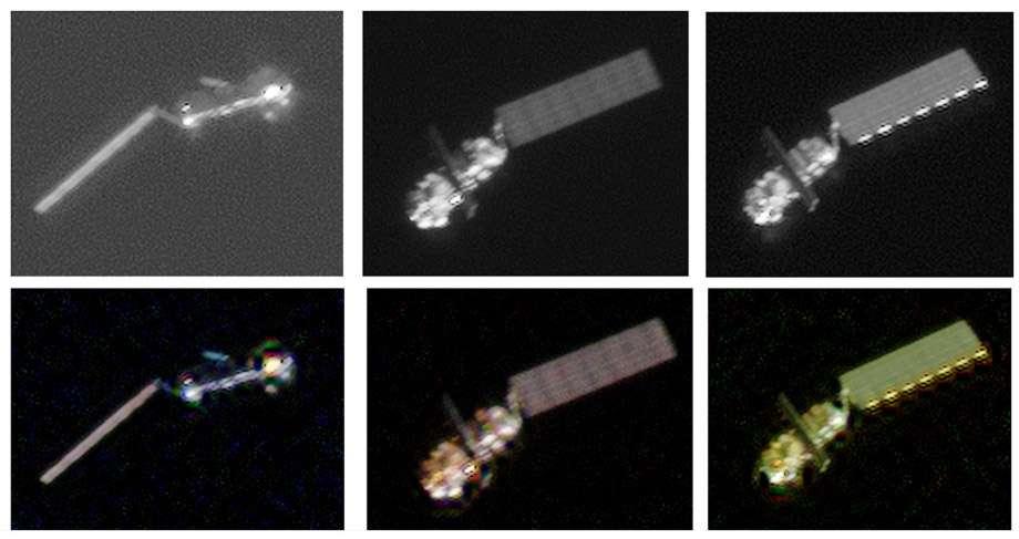 Envisat photographié à la volée par le satellite Pléiades du Cnes, alors qu'il passait à une distance de 100 km en avril 2012, quelques jours après que le satellite a subitement cessé d'envoyer des données. Ces images n'ont pas permis de déterminer la cause de la panne subite d'Envisat. Si rien n'est fait pour le désorbiter, il va tourner autour de la Terre pendant au moins 200 ans avant de retomber naturellement dans l'atmosphère terrestre. © Cnes