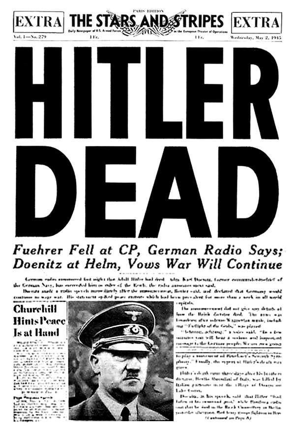 Les journaux qui annonçaient la mort d'Hitler en 1945 avaient raison! © US Army, Domaine public