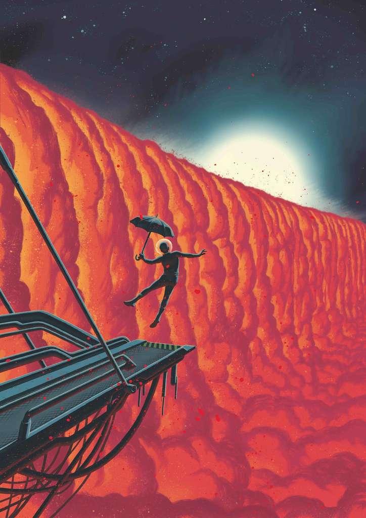 Sur cette vue d'artiste du dessinateur, Frederik Peeters, de forts vents charrient la vapeur de fer vers la face nocturne, plus tempérée, où elle se condense en gouttelettes de fer. © Frederik Peeters, ESO
