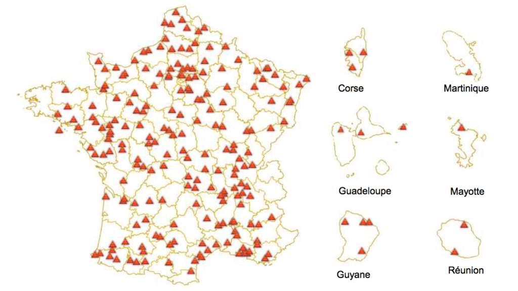 En 2014, les ISDND se répartissaient ainsi, de manière relativement homogène, sur le territoire français. © Ademe