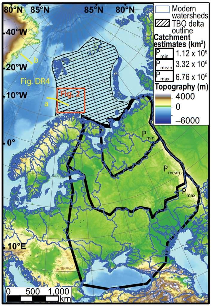 Carte montrant l'emplacement actuel du delta de la mer de Barents (zone hachurée) et l'étendue supposée de son bassin versant (trois estimations délimitées par des traits noirs en gras). Il est noté en légende « TBO delta » pour Triassic Boreal Ocean, qui désigne l'océan dans lequel il s'avançait durant le Trias. © Tore Grane Klausen et al., Geology, 2019