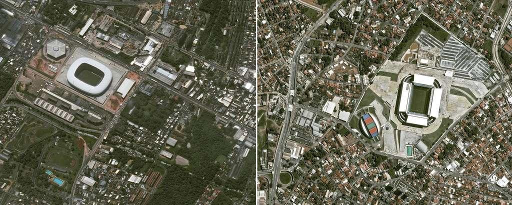À gauche, l'Arena Amazônia de Manaus et à droite le stade Pantanal de la ville de Cuiabá. @ Cnes 2014/Distribution Astrium Services/Spot Image S.A.