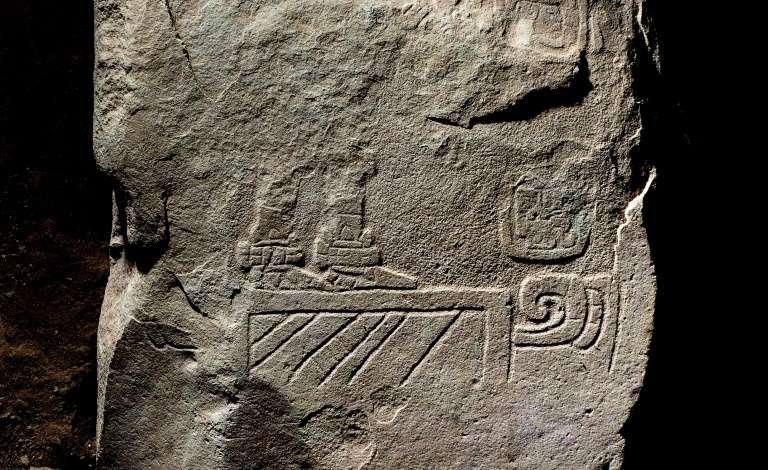 Détail du fragment de la stèle découverte en 2018 sur le site mésoaméricain qui recouvre 9 km2. © Guatemalan Ministry of Culture and Sports, AFP