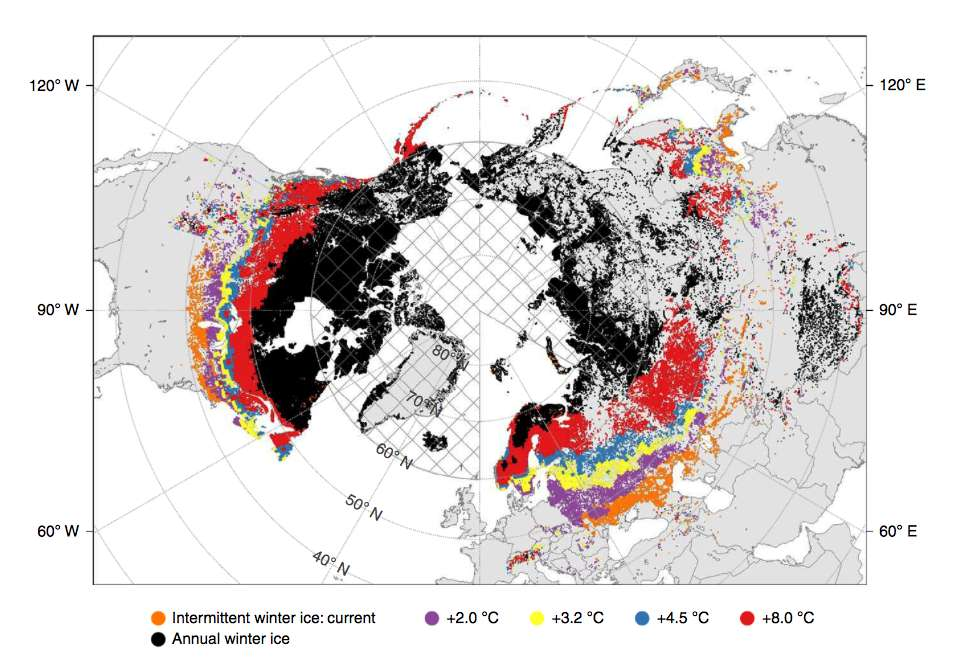 En orange : les lacs qui connaissent déjà un gel intermittent l'hiver. En violet, ceux qui seront affectés avec 2 °C en plus, en rouge : avec +8 °C. © Sapna Sharma et al, Nature Climate Change, 2019