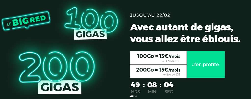Forfaits 200 Go et 100 Go en promotion © RED By SFR