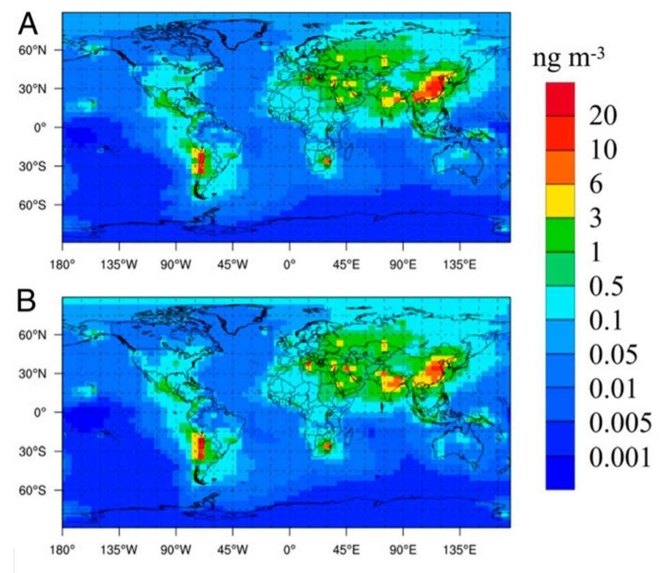Concentrations d'arsenic atmosphérique en 2005 (A) et en 2015 (B) au niveau mondial. © Lei Zhang et al.