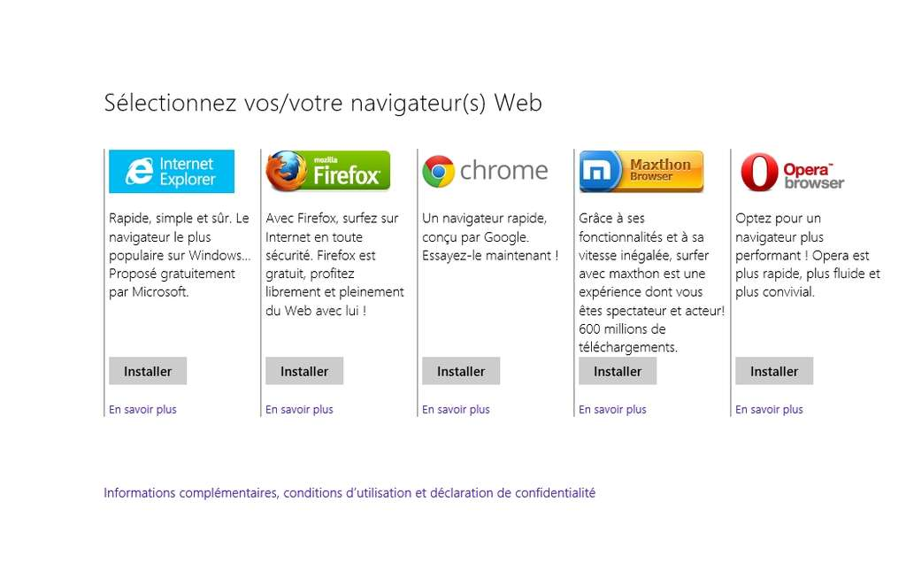 Microsoft s'est vu imposer par la Commission européenne d'intégrer un écran de choix du navigateur dans Windows. Celui-ci permet à l'utilisateur de télécharger un autre logiciel qu'Internet Explorer, le seul qui soit installé par défaut dans le système. © Eureka Presse
