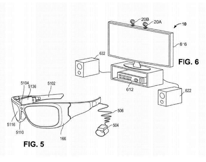Illustration de la technologie tirée du brevet déposé par Microsoft auprès de l'USPTO. Le géant américain imagine un téléviseur relié à un système de diffusion (N°616, un ordinateur, une console de jeu, un décodeur, etc.) et à une ou plusieurs caméras (20A, 20B) qui détectent les mouvements et surveillent l'utilisateur lorsqu'il consomme un contenu numérique payant (film, série télévisée). La paire de lunettes est un exemple de système d'affichage qui peut être utilisé dans le cadre d'applications de réalité augmentée. © Microsoft/USPTO