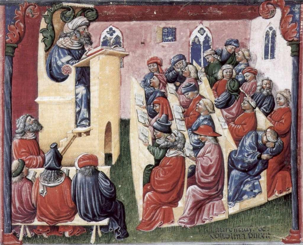 Maîtres et étudiants à Bologne, par Laurentius de Voltolina après 1350. Musée de peintures et dessins, Berlin. © Wikimedia Commons, domaine public