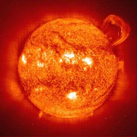 Cliquez pour agrandir. Une image d'une éruption solaire. Crédit : Soho/EIT Consortium/Esa/Nasa