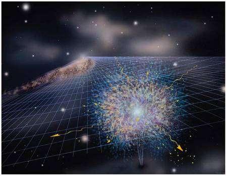Représentation d'artiste d'un mini trou noir s'évaporant en émettant une gerbe de particules (Crédit : Aurore Simmonet).