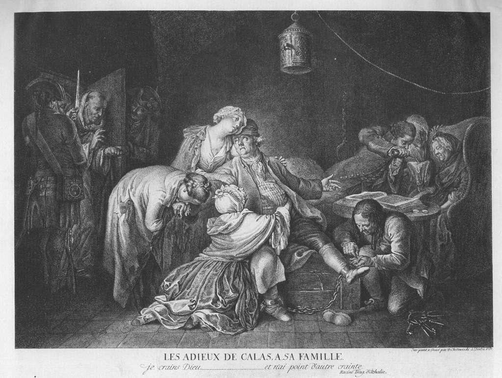 Les adieux de Calas à sa famille. © Œuvre de Daniel Chodowiecki, Wikimedia Commons, Domaine public