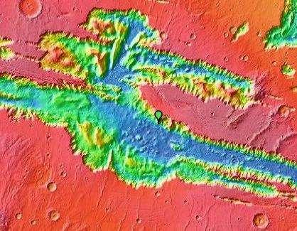 Valles Marineris, vue par Google Mars (élevation de terrain). © Nasa/JPL/Arizona State University