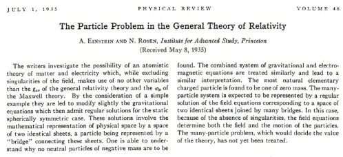 L'article d'Einstein et Nathan Rosen.