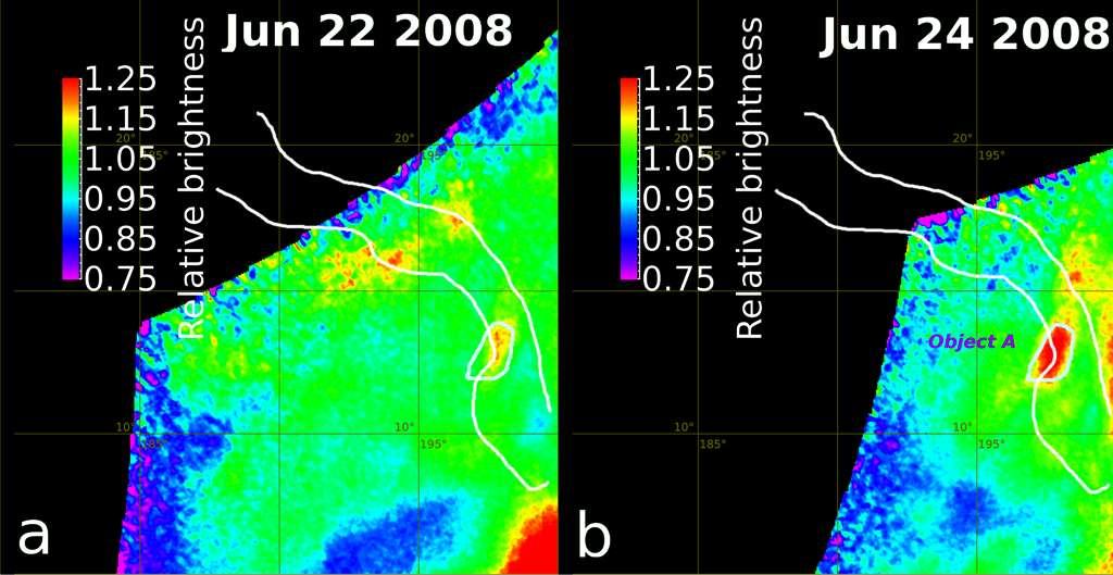 """À gauche, une image prise le 22 juin 2008 par l'instrument VMC de Venus Express et, à droite, celle prise le 24 juin 2008. La région """"A"""" exhibe une zone plus lumineuse et plus chaude dans l'infrarouge. Tout se passe comme si la température de cette région avait augmenté de plus de 300 °C, ce qui pourrait s'expliquer par une éruption volcanique. © Esa"""