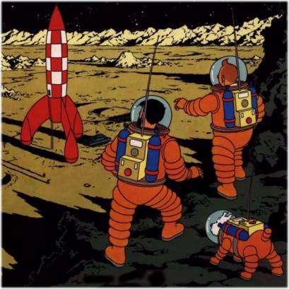 Tintin et ses amis ont eu deux semaines pour explorer le sol lunaire, Armstrong et Aldrin ont eu deux heures ! © Hergé, Casterman