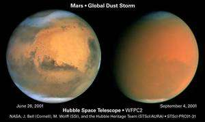 Les effets d'une grande tempête de poussière en 2001 : en quelques semaines la surface martienne est devenue invisible depuis la Terre. Crédit Nasa / Hubble