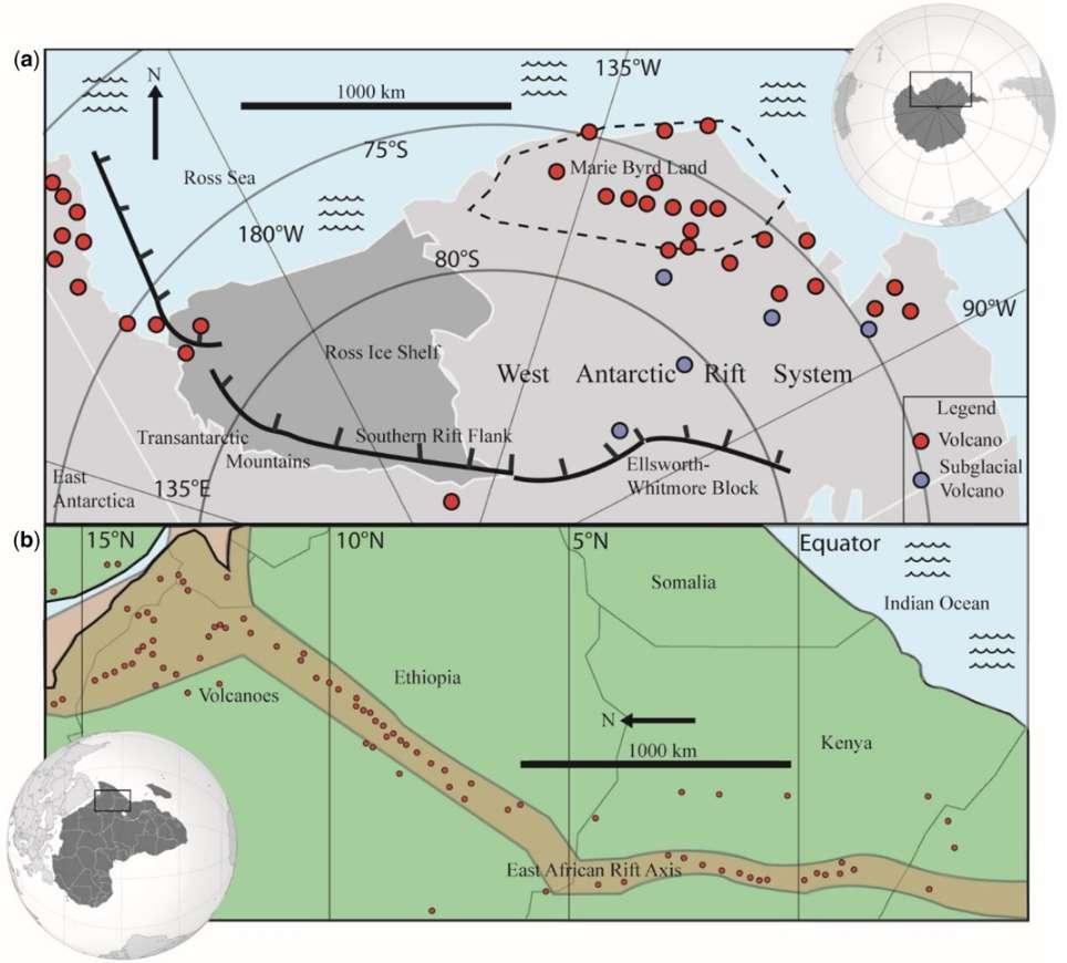 Cartes comparées du rift ouest-antarctique avec ses volcans (a) et du rift est-africain (b). Les ronds rouges de la carte (a) montrent les volcans de l'Holocène et les gris les volcans subglaciaires qui étaient déjà connus. L'activité volcanique est concentrée le long des rifts. © Maximillian van Wyk de Vries et al., Geological Society of London