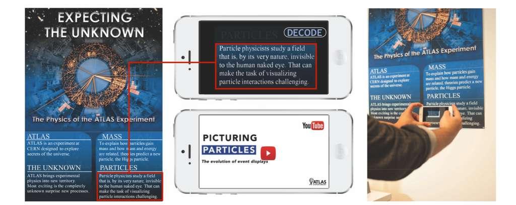 Sur ce « poster augmenté », on peut lire un message en scannant un texte avec son téléphone comme pour un QR code. © Changxi Zheng, Columbia Engineering