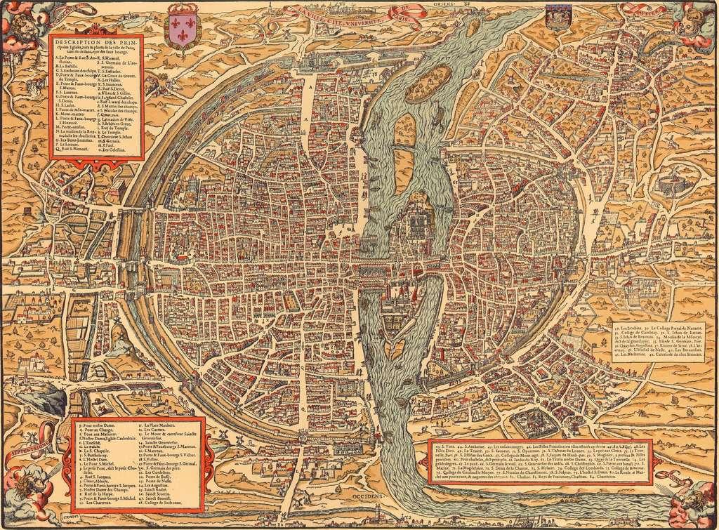 Plan de Paris en 1575, graveur Cruche, publié par François de Belleforest dans La Cosmographie universelle de tout le monde. © Wikimedia Commons, domaine public.