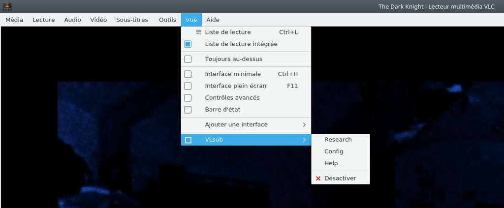 Recherche de sous-titres à partir de VLC. © VideoLAN non-profit organization.