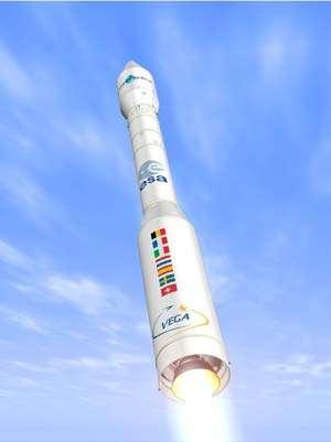 Le nouveau lanceur Vega devrait voler fin 2009. Mais dans sa première version, sa capacité ne sera que de 1 tonne en orbite basse circulaire (jusqu'à 1.500 km), sans possibilité d'accès à l'orbite géostationnaire. Crédit Esa