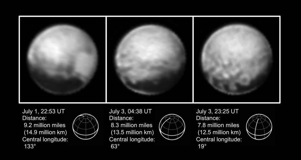 La planète naine Pluton photographiée entre le 1er et le 3 juillet 2015 avec le télescope Lorri de New Horizons. La première indication des images de New Horizons est que Pluton est encore plus contrastée qu'on ne l'imaginait. Les parties claires sont des surfaces glacées et les régions sombres des reliefs en creux ou des amoncellements de matière organique. La région claire visible sur la partie droite de la première image est celle observée durant le survol du 14 juillet 2015. Le graphique en dessous précise la position de l'équateur de cette planète naine. On distingue une bande sombre tout au long qui se fragmente en grosses plaques (image de droite). © Nasa, JHUAPL, SwRI