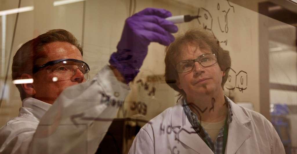On connaît actuellement plus de huit millions de substances chimiques différentes, qu'elles soient naturelles ou artificielles. Ici, deux personnes dans un laboratoire de chimie. © Novartis AG, CC by-nc-nd 2.0