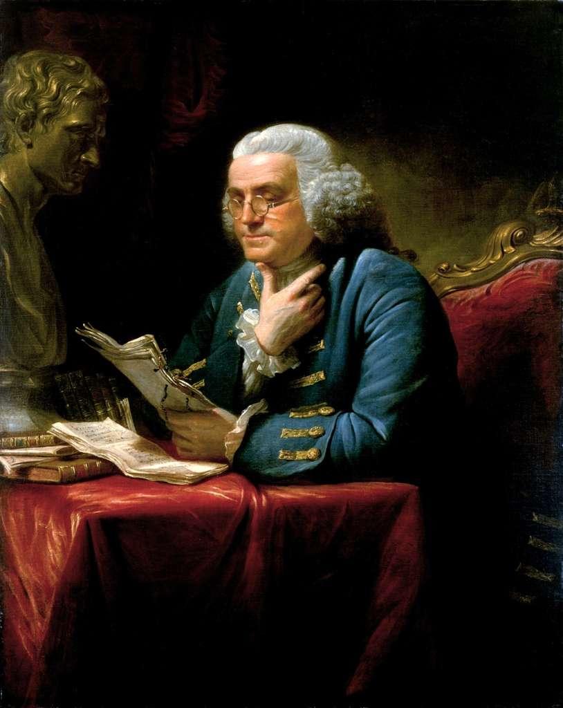 Benjamin Franklin est l'un des plus illustres rédacteurs et signataires de la constitution des États-Unis. © Peinture de David Martin, exposée à la maison blanche, Wikimedia Commons, domaine public