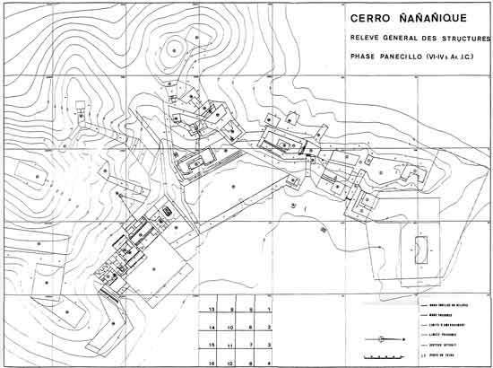 Fig. 10 : Relevé des vestiges architecturaux de la phase Panecillo (VIII-V ème siècle BC) © J. Guffroy IRD