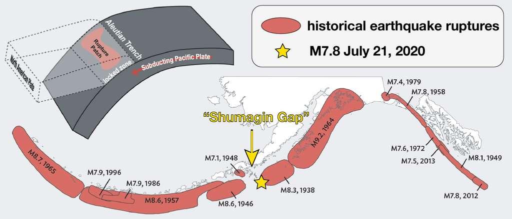 Schéma expliquant la subduction des plaques pacifique et nord-américaine dans la péninsule de l'Alaska, un lieu connu pour son activité sismique intense. © Alaska Earthquake Center