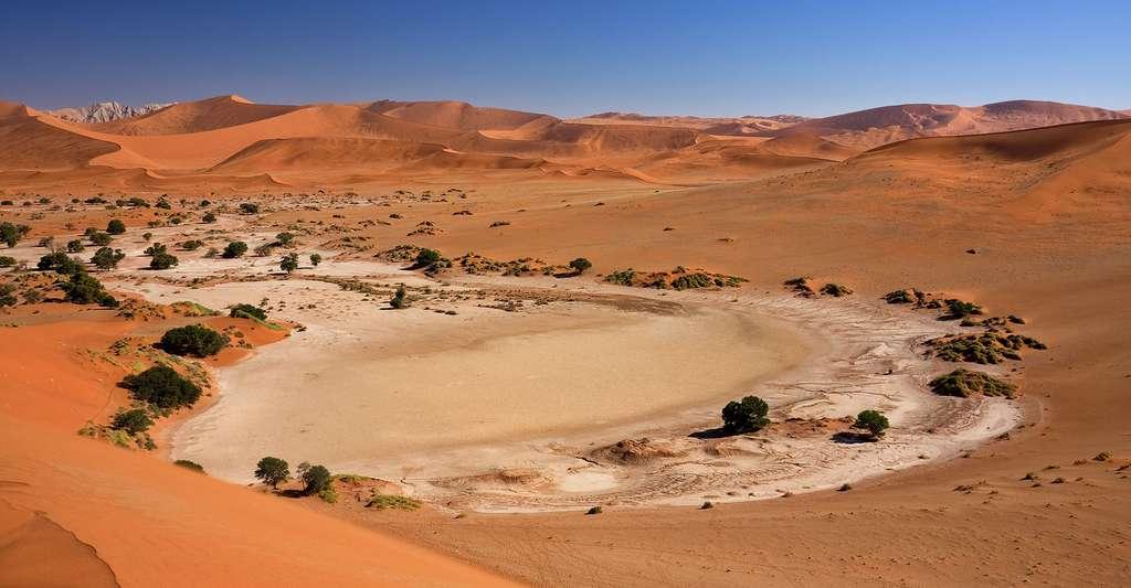 Le Salar asséché de Sossusvlei, en Namibie. © Ikiwaner, GFDL