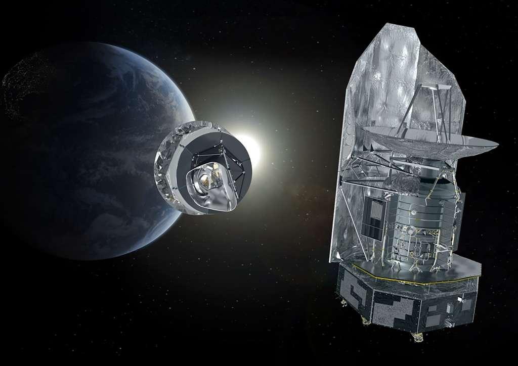 Vue d'artiste des satellites Planck (à gauche) et Herschel. © ESA, Thales Alenia Space