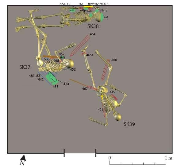 Reconstitution de la mort des présumés voleurs du bol en or de la citadelle d'Hasanlu : l'escalier supérieur par lequel ils s'enfuyaient s'est effondré. Dans sa chute, l'individu SK37 est tombé dans les jambes de SK38 qui le suivait de près. L'effondrement d'un bâtiment peu après a étouffé les flammes et permis la préservation des matières (en rouge : du fer, en jaune : de l'or, en marron : du bois, en vert : du bronze-cuivre, en hachuré bleu : du textile). © Michael Danti, Antiquity