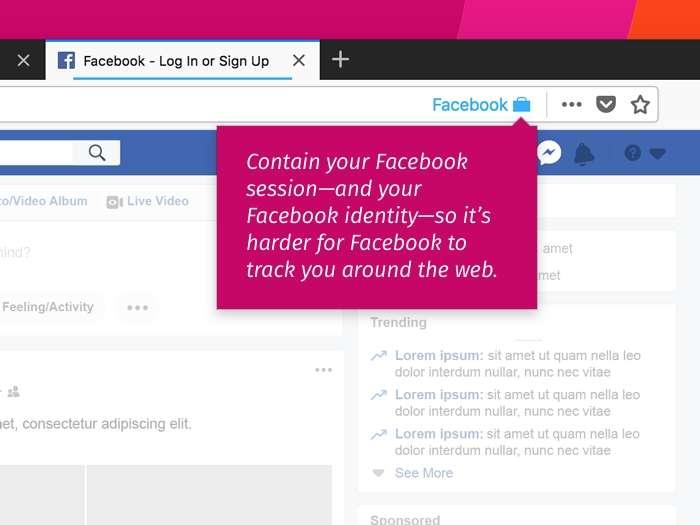 Facebook Container isole votre activité sur le réseau social du reste. © Mozilla Foundation