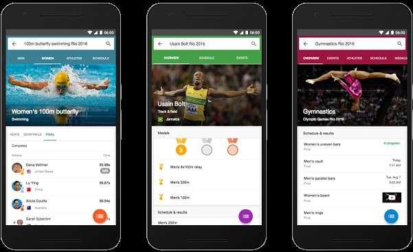 L'application mobile de Google fournira des informations sur les épreuves à venir, avec la possibilité de recevoir des notifications pour ne rien manquer. © Google