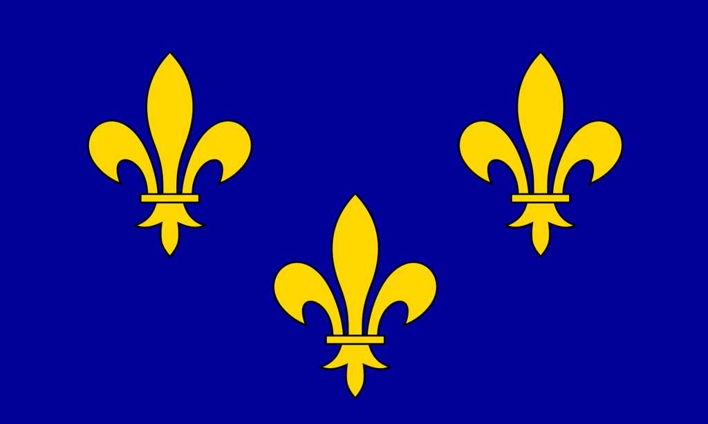 Bannière du roi de France, du XIVe au XVIIe siècle. © Wikimedia Commons, domaine public.