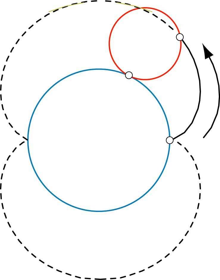 La néphroïde est la courbe décrite par un point d'un cercle de rayon R (en rouge) roulant sans glisser sur un cercle de rayon 2R (en bleu). © Hervé Lehning, tous droits réservés