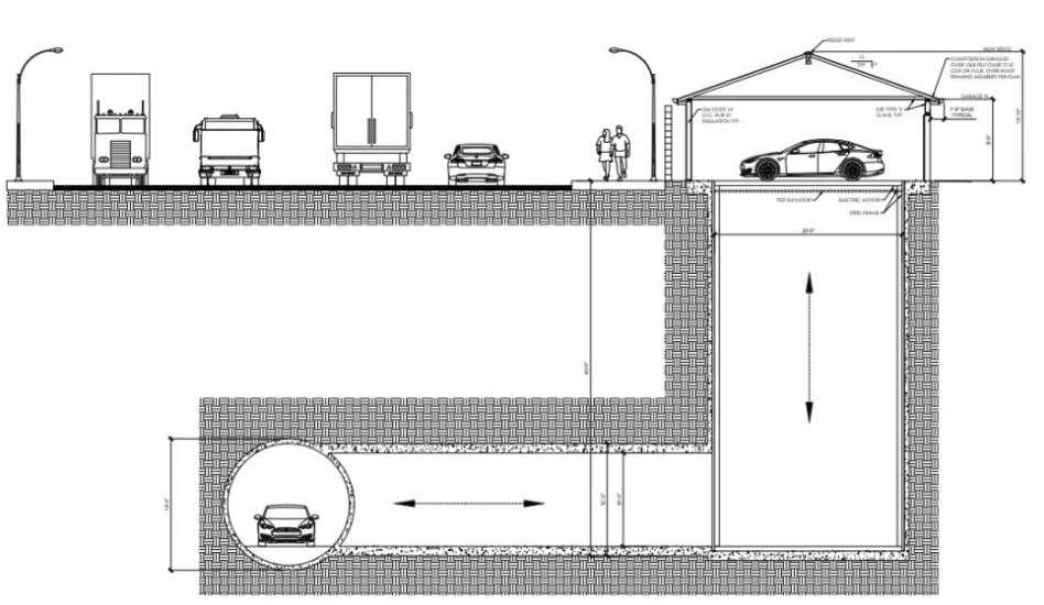 Le concept d'ascenseur dans un garage résidentiel que The Boring Company va bientôt installer pour desservir son tunnel d'essai. © The Boring Company