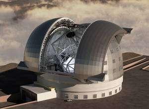 Une image de synthèse de l'E-ELT (European Extremely Large Telescope), qui laisse deviner le miroir géant de 42 mètres, constitué de 906 segments. © ESO