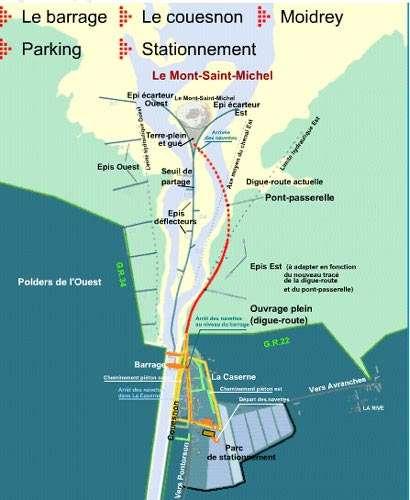 Carte des aménagements du Mont-Saint-Michel. © Tous droits de reproduction interdits