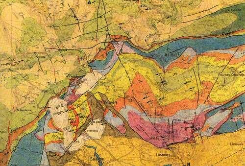 Carte géologique : Salsigne et sa légende.