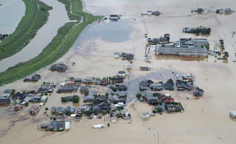 Vue aérienne d'inondations au Japon à Omachi, le 28 août 2019. © Jiji Press, AFP