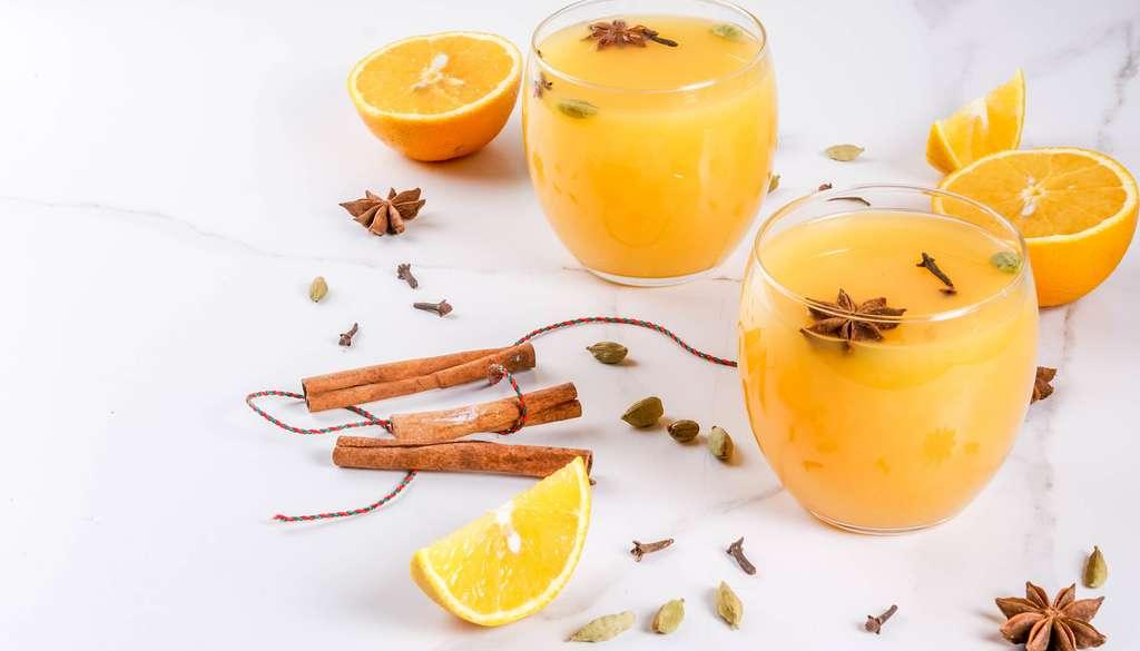 Pour les enfants — comme pour les parents d'ailleurs —, il est possible de remplacer le vin chaud par du jus de fruits chaud. Du jus d'orange notamment, épicé de la même façon. © ricka_kinamoto, Fotolia
