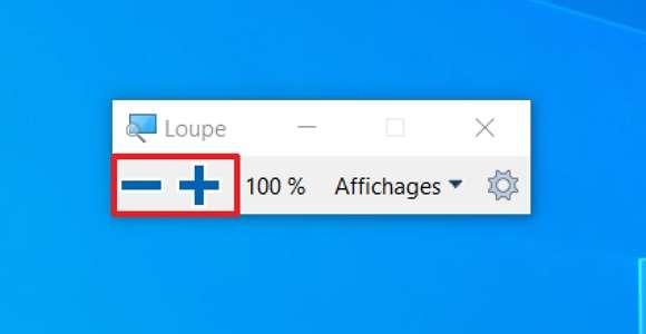 Cliquez sur les boutons « + » et « - » de la loupe pour effectuer un zoom avant ou arrière. © Microsoft