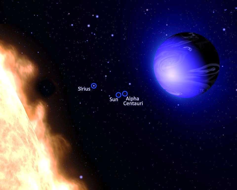 Une vue d'artiste de la Jupiter chaude HD 189733b. Elle orbite si près de son étoile qu'elle est en rotation synchrone, ce qui veut dire qu'elle lui présente toujours la même face. Une température supérieure à 1.000 °C doit régner dans la partie de l'atmosphère faisant face à l'étoile. Spitzer avait déjà permis de cartographier grossièrement la température de l'atmosphère de l'exoplanète en 2007, et on pense que sa face nocturne présente une température moyenne inférieure de 260 °C à celle de sa face diurne. De telles différences doivent générer des vents supersoniques dont les vitesses peuvent être de l'ordre de 7.000 km/h. L'artiste a aussi représenté le Soleil, Sirius et Alpha du Centaure telles que ces étoiles apparaîtraient depuis le système HD 189733. © G. Bacon, AURA/STScI
