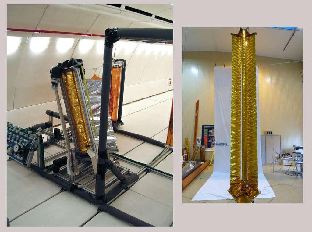 À gauche, une maquette réduite d'IDEAS testée lors d'un vol à bord d'un Airbus Zéro G, en juin 2007, pour un essai de déploiement en apesanteur de la voile (la membrane, pliée comme un store). À droite, un mât IDEAS en essai de caractérisation mécanique dans les locaux d'Airbus DS Aquitaine © Rémy Decourt (image de gauche), Airbus Defence and Space (image de droite)