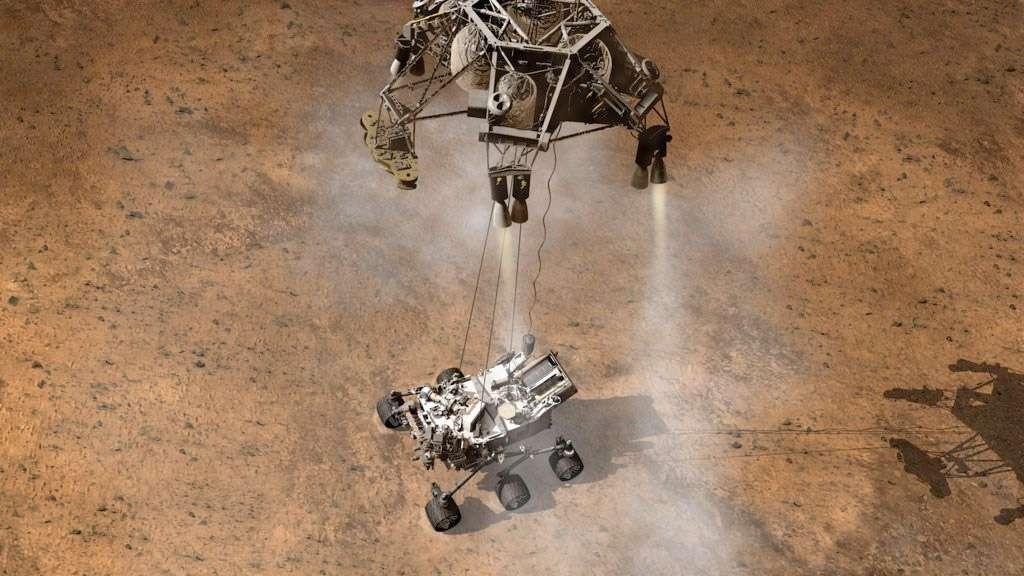 Avec Curiosity, la Nasa vise le premier atterrissage de précision et sur un terrain accidenté. À terme, les États-Unis souhaitent se doter d'un système d'atterrissage d'évitement de dangers et capable de se poser à l'intérieur de sites scientifiques à la fois prometteurs et difficiles à atteindre. © Nasa/JPL