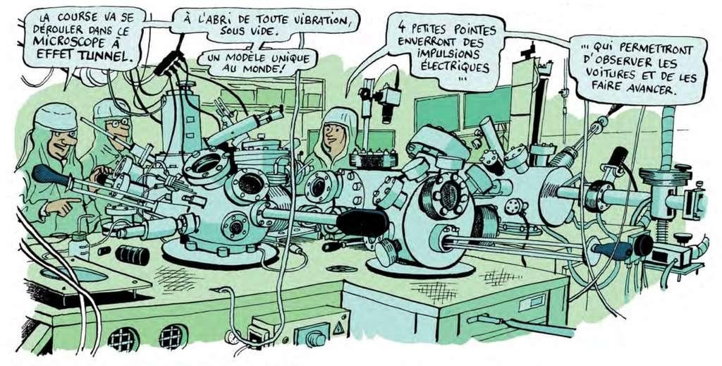 Autour du microscope du Cemes (CNRS), quatre personnes peuvent travailler sur une même surface. Ce dessin est extrait de la B.D. de Jean-Yves Duhoo présentant la NanoCar Race. © CNRS, Jean-Yves Duhoo