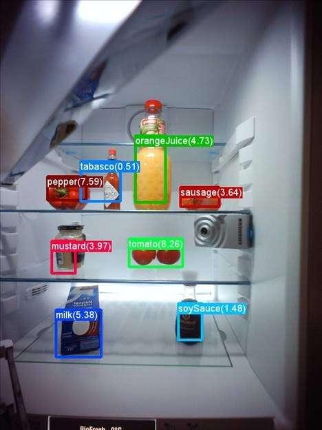 La reconnaissance des denrées présentes dans le réfrigérateur s'appuie sur des algorithmes d'apprentissage profond développés par Microsoft. © Microsoft, Liebherr